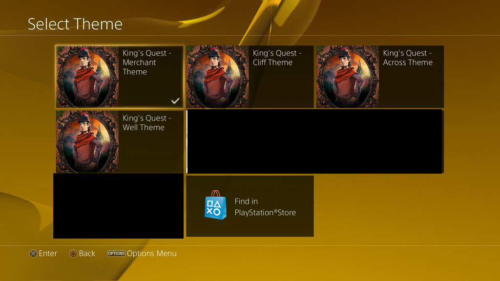 Playstation 4 Theme Selection Screen